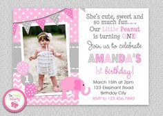 Elephant Birthday Invitation #elephant #littlepeanut # balloons #firstbirthday
