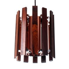 Copper rosewood and black pendant by by DanishVintageLights