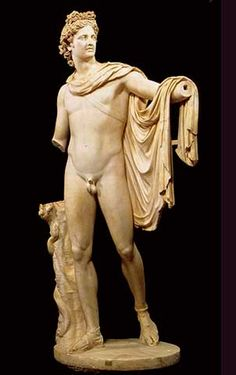 APOLLO-The god of music, healing, plague, the sun, prophecies, poetry, and archery; associated with light, truth and the sun. He is Artemis' twin brother and Hermes' elder (half)brother, and son of Zeus and Leto. He was depicted as a handsome, beardless youth with long hair and various attributes including a laurel wreath, bow and quiver, raven, and lyre. Animals sacred to Apollo include: roe deer, swans, cicadas, hawks, ravens, crows, foxes, and snakes.