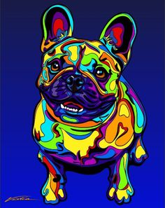 "Multi-Color French Bulldog Matted Prints & Canvas Giclées. Hand painted and printed in USA by the artist Michael Vistia. Dog Breed: The French Bulldog is a small breed of domestic dog. ""Frenchies"" wer"