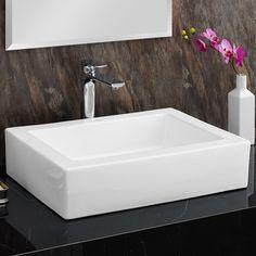 Fine Fixtures Modern Vitreous Rectangle Vessel Bathroom Sink   Bathroom    Pinterest   Sinks, Vessel sink and Modern