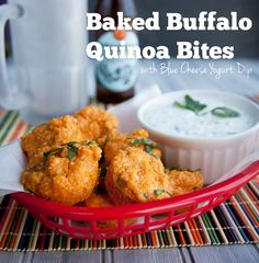 When a wing craving hits, try these yummy bites, I know I will! Baked Buffalo Quinoa Bites with Blue Cheese Yogurt Dip