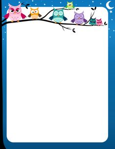 Page border with colorful owls on a tree limb and a nighttime sky. Free downloads at http://pageborders.org/download/owl-border/