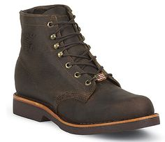 "Work Boots  Chippewa Men's 6"" Chocolate Apache Lacer: 20065"
