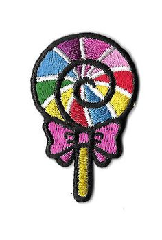 Lollipop - Candy - Rainbow - Embroidered Iron On Applique Patch