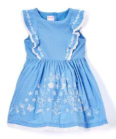 Blue Abstract Angel-Sleeve Dress - Toddler & Girls #zulily #zulilyfinds