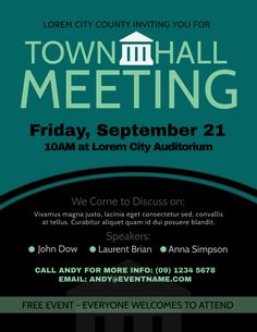 Townhall meeting poster design template Town hall meeting Poster template design Flyer