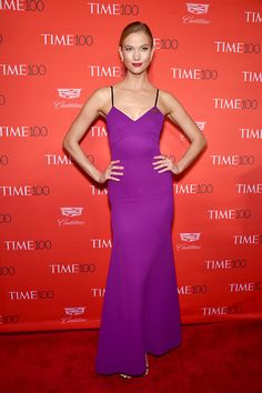 Karlie Kloss popped in a brilliant purple gown at the Time 100 Gala.