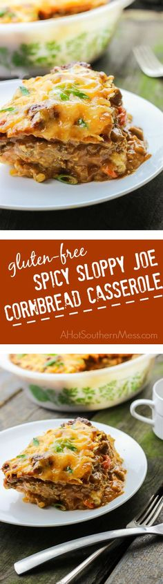 This gluten-free spicy sloppy joe cornbread casserole is the best combination of sweet and tangy with hot and spicy. It's meaty and breaded, saucy and doughy. The tangy and spicy sloppy joe sauce is thick and smooth {and a little bit messy} and coats the beef, veggies, and cornbread and then baked until the melty cheese is stringy and ooey gooey. This comfort food casserole is amazing for when you need to reach for an easy weeknight meal that the whole family will love…