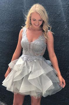 A-Line Deep V-neck Short Grey Organza Homecoming Dress with Appliques