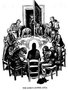 """Fritz Eichenberg's """"The Lord's Supper."""" Eichenberg was a friend of Dorothy Day, and his depiction of the Last Supper echoes the scene at a Catholic Worker soup kitchen, with those hosted at the table being the poor and outcast. Religious Images, Religious Art, Last Supper Art, Lords Supper, Lino Art, Dorothy Day, Biblical Art, Sacred Art, Christian Art"""