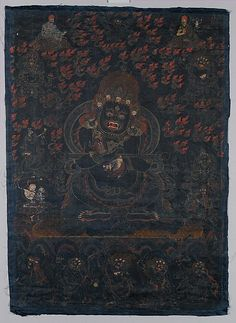 This black-ground painting is a visualization image of Mahakala as Panjarantha, the enlightened protector of Buddhism. He tramples a male corpse beneath his feet and displays a flaying knife (kartrika) in his right hand and a skull cup (kapala) in his left, implements for cutting through delusions and ignorance