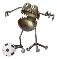 "SugarPost Hand-Made Metal ""Gnome Be Gone"" Lawn Sculpture, ""Soccer"", 12"" Tall"