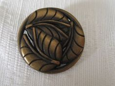 Nice VINTAGE Pierced Metal tri Leaf Button by abandc on Etsy, $2.95
