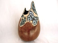 Gourd Art-Blue and Brown Butterfly Vase by neadesigns on Etsy
