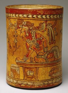Cylindrical Vessel with Throne Scene, 8th century Guatemala; Maya Ceramic