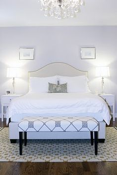 Love the bench fabric and simple lavender piping on the headboard.