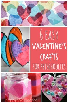 6 totally easy, totally gorgeous Valentine's crafts for toddlers and preschoolers! Candle holders, homemade cards, simple wreath, decorated window and more!
