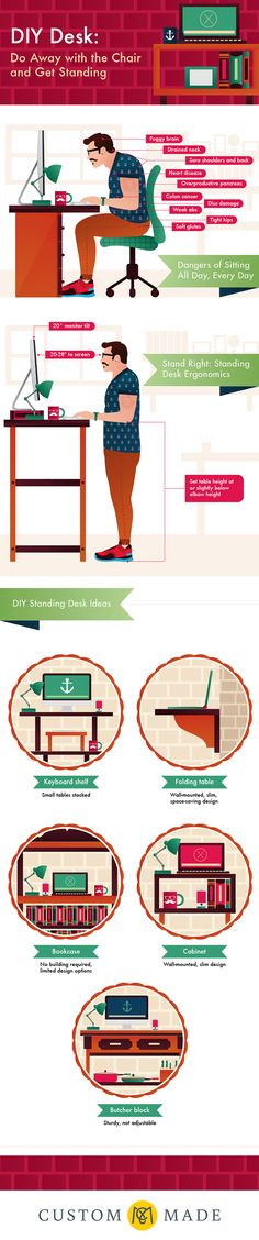 A quick and FREE lifestyle hack that can improve your health. 10 Reasons you should quit sitting all day and free DIY ideas for crafting your own stand up desk. Infographic from Custommade.com #makingitpay