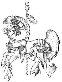 Carousel Horses Stained Glass Coloring Book Dover Publications