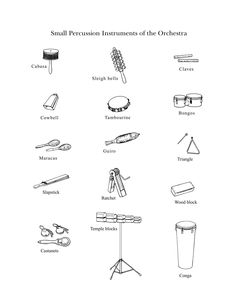 """""""The Percussion Family (Small)"""": Drawings of small instruments from the percussion family by the Lancaster Symphony"""