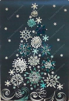 The painting mural drawing New Year Bumagoplastika Quilling collective work for the new year paper Sequins photo 1 Paper Quilling Patterns, Quilling Paper Craft, Paper Crafts, Quilling Christmas, Christmas Snowflakes, Christmas Crafts, Snowflake Quilt, Quilled Creations, Writing Art