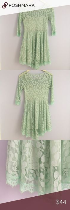 Free People floral lace dress, mint green Free People floral lace dress, mint green, size 2, retail price $128.  Lovely color! Mesh fit and flare silhouette with floral pattern throughout. Fully lined, eyelash lace detail on cuffs and handkerchief hemline. Three quarter length sleeve with invisible side zip closure. In like-new condition, only worn once. Shell 52% nylon, 48% cotton, Lining 100% rayon. Machine wash cold tumble dry low, may be dry cleaned.  Thanks for looking and please browse…