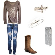 Country Girl! love the shirt and I'd be wearing my corral boots;) andd pink camo otter box! Haha