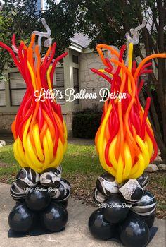 Balloon Crafts, Balloon Gift, Balloon Decorations Party, Paper Decorations, Birthday Decorations, Fire Balloon, Balloon Arch, Balloon Garland, Balloon Arrangements