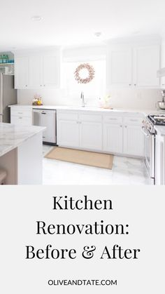 Kitchen Renovation: Before and After, Olive and Tate. I'm so excited to share the before and afters of this kitchen remodel! I love how the white cabinets and countertops turned out. Check out this post for ideas for inspiration on subway tile backsplash and island decor before for your next project! Diy Kitchen Projects, Diy Kitchen Decor, Kitchen Upgrades, Kitchen Ideas, Diy Home Decor, Kitchen Styling, Home Renovation, Home Remodeling, White Kitchen Cabinets