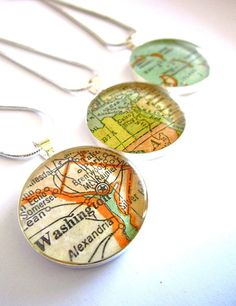 Map Necklace from Vintage Maps and Antique Atlases. by Juanitas