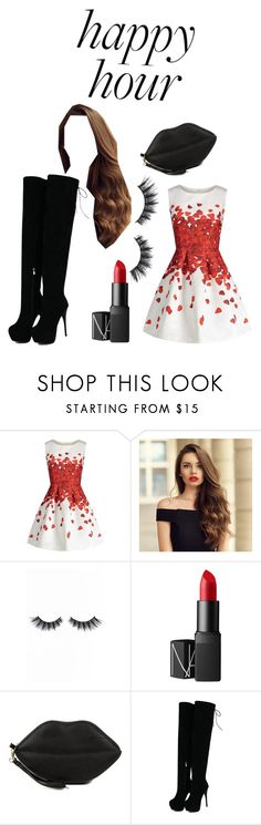 """""""Happy Hour Bliss"""" by st8-dz ❤ liked on Polyvore featuring Violet Voss, NARS Cosmetics, Gunne Sax By Jessica McClintock, modern, happyhour, classicred and touchable"""