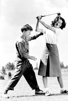 Mickey Rooney & Ava Gardner, golf vintage #golf #golflovers #lorisgolfshoppe
