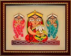 Jamini Roy: Parvati and Ganesha with Lakshmi and Swaraswati - Glass Painting -Home Decor-Cristal Art Ganesha Drawing, Lord Ganesha Paintings, Ganesha Art, Madhubani Art, Madhubani Painting, Indian Folk Art, Indian Artist, Mural Painting, Fabric Painting