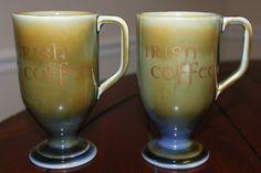 IRISH PORCELAIN COFFEE MUG CUP GLASS FOOTED MADE IN IRELAND WADE SET OF TWO  HTF #Wade