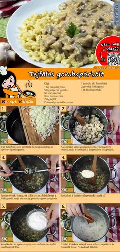 Mushroom ragout with sour cream recipe with video. Detailed steps on how to prepare this easy Mushroom ragout with sour cream recipe! Veggie Recipes, Dinner Recipes, Cooking Recipes, Healthy Recipes, Sports Food, Good Food, Yummy Food, Stuffed Mushrooms, Stuffed Peppers