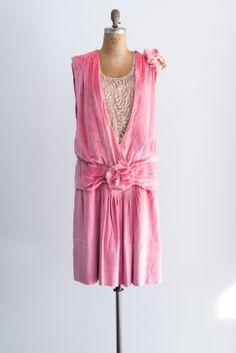 1920s pink silk velvet flapper dress with silk beading inset