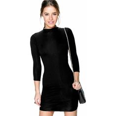 Boohoo Petite Petite Lois Turtle Neck 3/4 Sleeve Bodycon Dress ($16) ❤ liked on Polyvore featuring dresses, black, special occasion dresses, cocktail dresses, black camisole, petite evening dresses and bodycon dress