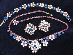 Vintage Flower Power Parure with Sapphire by ToadSuckTreasures