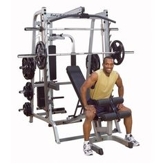 Body Solid GS348QP4 Series 7 Smith Gym with Bearing Smith Machines and Selectorized Latch