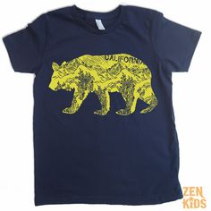 Kids T Shirt in Navy CALIFORNIA BEAR Tee  Kid Shirts by ZenKids, $16.00