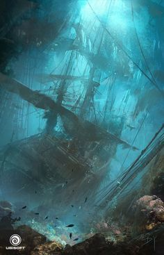 Black Flag - Underwater Wreck, Donglu Yu : concept art done for Assassin's Creed IV: Black Flag. All rights belong to Ubisoft. Fantasy Places, Fantasy World, Design Spartan, Pirate Life, Pirate Art, Environment Design, Fantasy Landscape, Environmental Art, Tall Ships