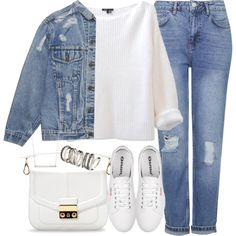 A fashion look from December 2014 featuring Topshop jeans, Zara messenger bags and H&M rings. Browse and shop related looks.