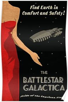 'Vintage Battlestar Galactica Travel Poster' Poster by Phantomtollboy World Of Tomorrow, Across The Universe, Battlestar Galactica, Sci Fi Art, Travel Posters, Fiction, Geek Stuff, Fandoms, Holiday Posters
