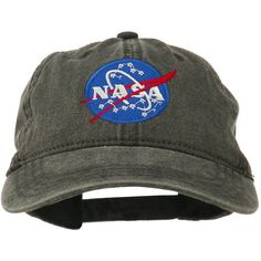 a4c2224610b NASA Insignia Embroidered Pigment Dyed Cap - Black OSFM Made of cotton. One  size fits most with an adjustable buckle strap closure