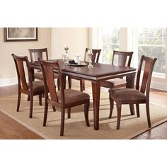 Steve Silver Aubrey 7 Piece Dining Table Set with Optional Server - Medium Brown Cherry - Wooden Dining Table Modern, Dinning Table Design, Dining Table Chairs, Kitchen Dining Sets, Dining Room Sets, Esstisch Design, Dining Furniture Sets, Medium Brown, Home Decor