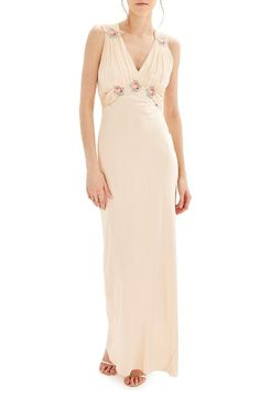 Free shipping and returns on Topshop Bride Embroidered Silk Gown at Nordstrom.com. Colorful floral appliqués enliven the shirred Empire-waist bodice of this creamy-satin gown.