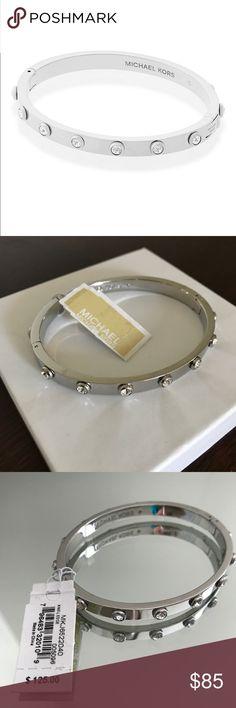 Michael Kors Stone Hinge Bangle Bracelet Michael Kors Stone Hinge Bangle Bracelet -Silver (MKJ6522040).  Steel; glass; Cubic Zirconia.  Hinge/push button closure. Michael Kors Jewelry Bracelets