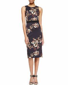 B2KCD Jason Wu Sleeveless Floral Crepe Sheath Dress