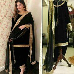 Velvet kameez punjabi patiala salwar party wear indian pakistani stitched suit e Pakistani Fashion Casual, Pakistani Dress Design, Pakistani Outfits, Indian Outfits, Indian Dresses, Indian Fashion, Fashion Women, Fashion Trends, Black Patiala Suit